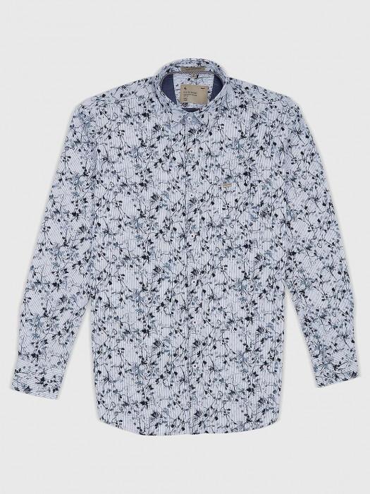 EQIQ White Hued Printed Pattern Shirt