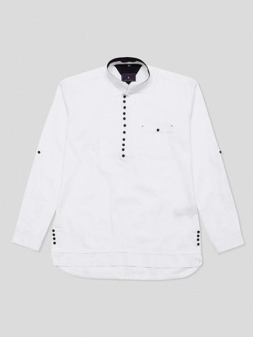 Eqiq White Solid Full Sleeve Cotton Shirt