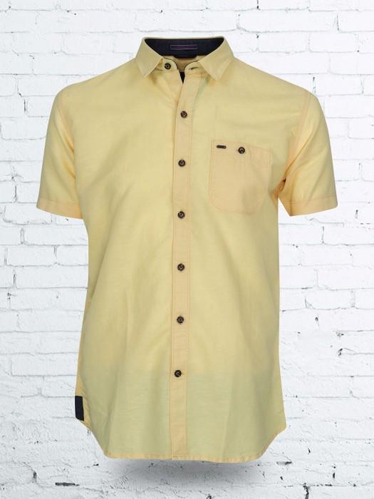 EQIQ Yellow Color Solid Shirt