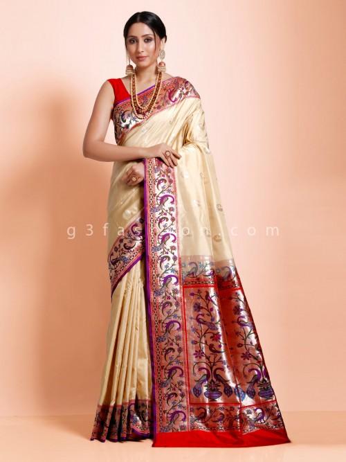 Ethnic Wear Cream Banarasi Paithani Silk Designer Saree