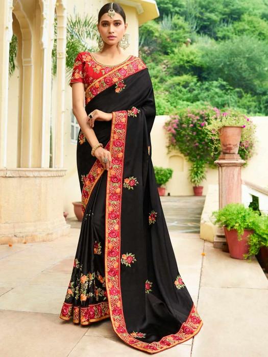 Exclusive Black Hue Semi Silk Saree