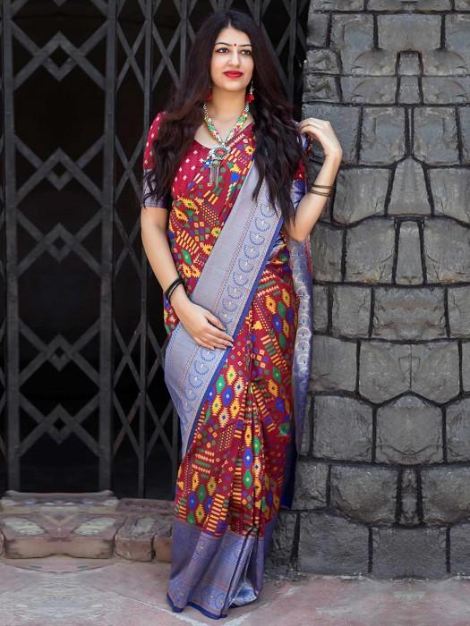 Exclusive Maroon Hue Banarasi Patola Silk Saree