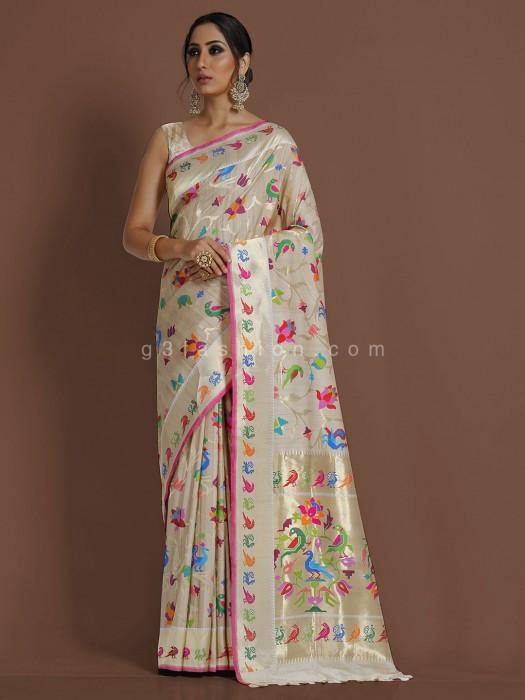Exclusive Peach Minakari Pure Banarasi Silk Wedding Saree