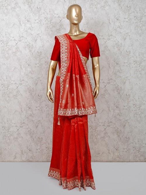 Exclusive Red Wedding Banarasi Silk Saree