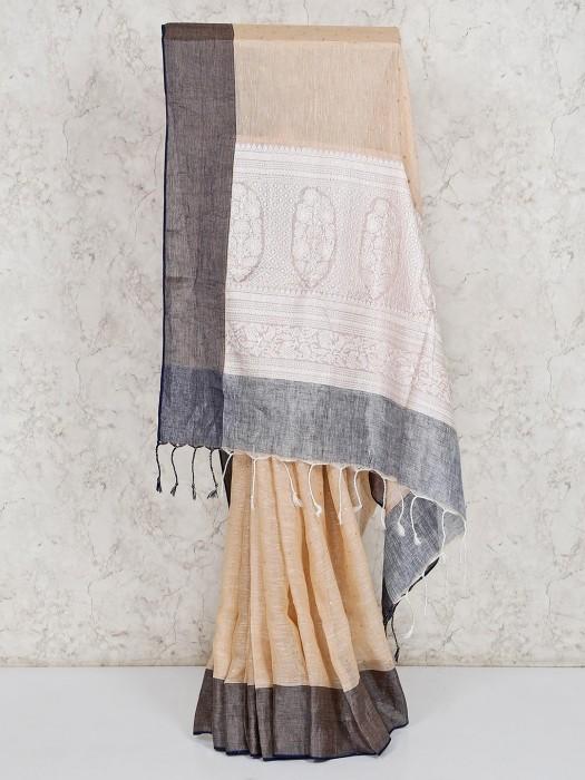 Festive Beige Linen Saree