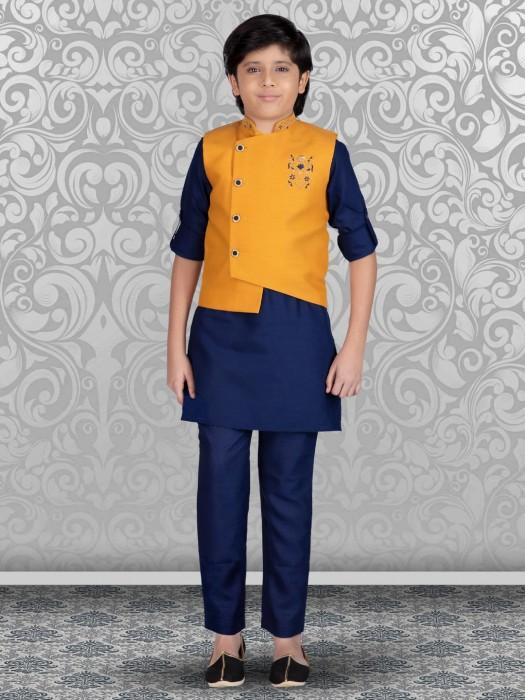 Festive Gold And Royal Blue Terry Rayon Waistcoat Set