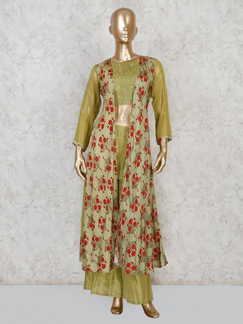 Festive Green Jacket Style Cotton Silk Palazzo Suit