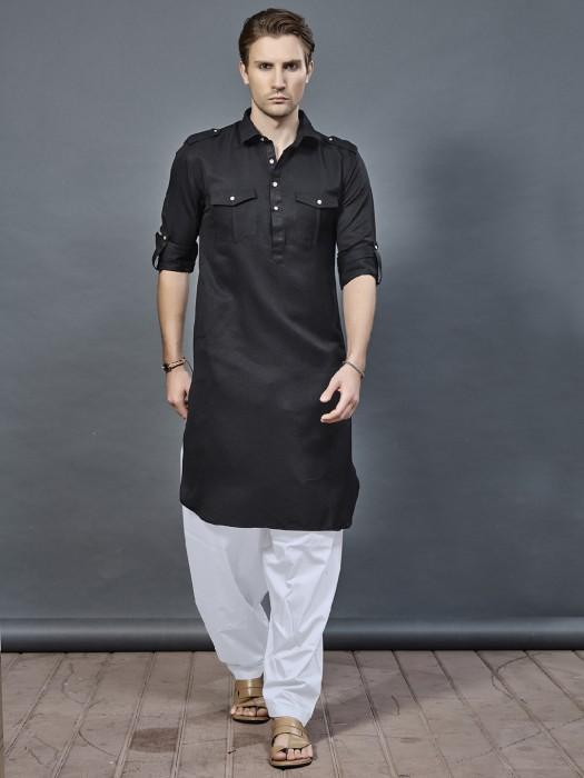 Festive Jet Black Color Pathani Suit