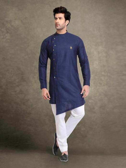 Festive Occasion Navy Cotton Jacquard Kurta Suit