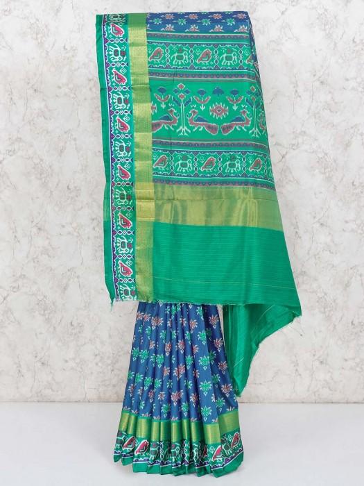 Festive Patola Printed Blue Cotton Silk Saree