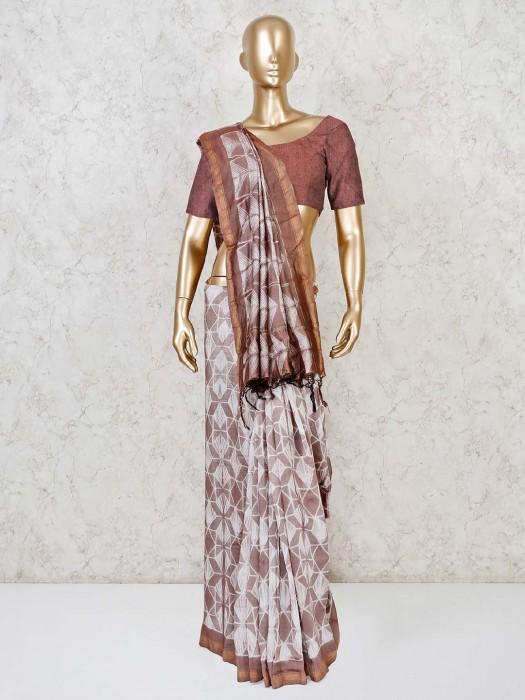 Festive Saree In Brown Cotton