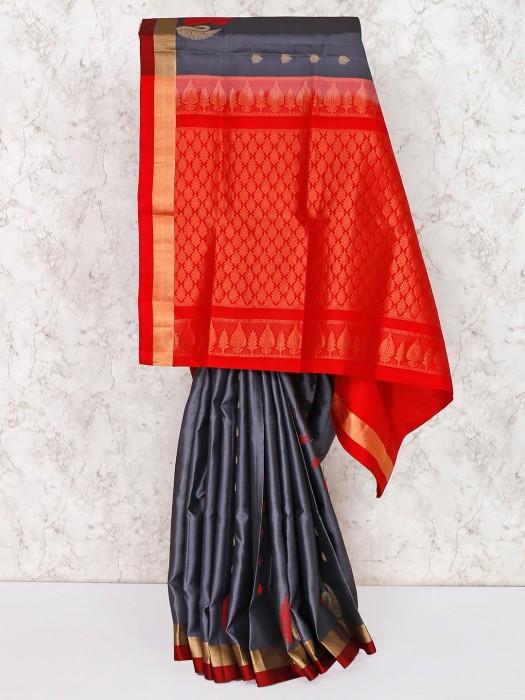 Festive Semi Silk Grey Saree