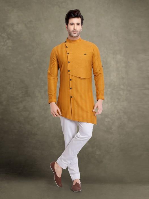 Festive Stripe Design Mustard Yellow Kurta Suit