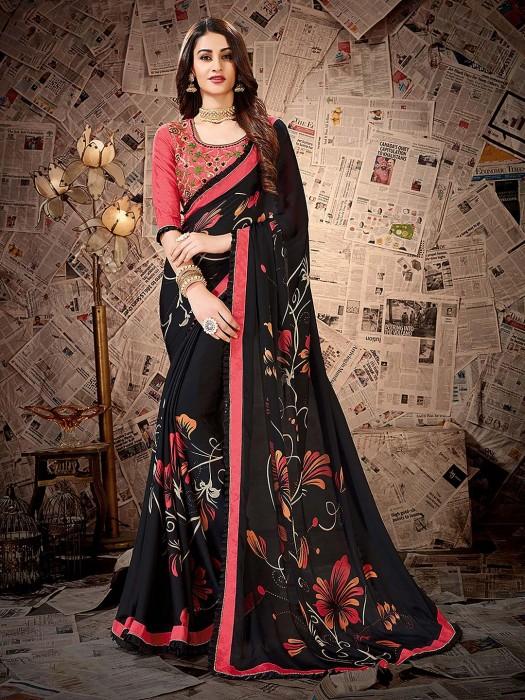 Festive Wear Black Color Printed Satin Georgette Saree