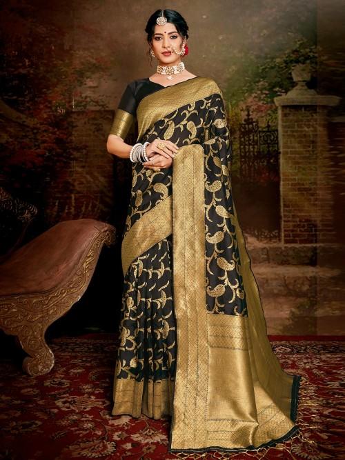 Festive Wear Black Handloom Banarasi Silk Saree