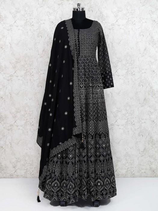 Festive Wear Black Hue Georgette Floor Length Anarkali Salwar Suit