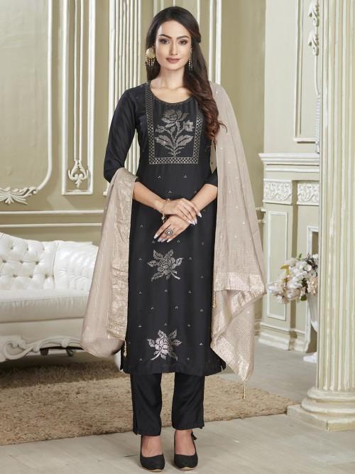 Festive Wear Black Punjabi Cotton Salwar Kameez