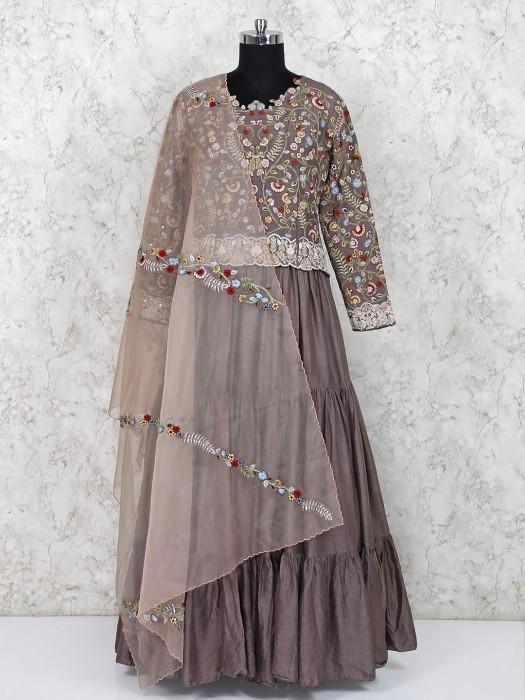 Festive Wear Brown Cotton Silk Floor Length Anarkali Suit