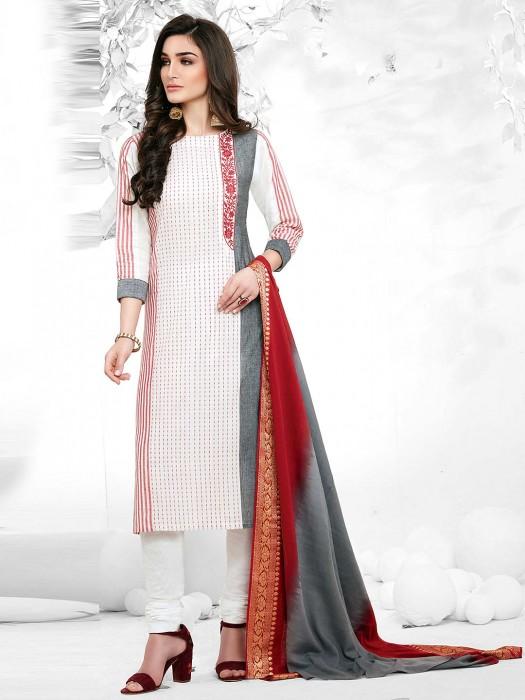 Festive Wear Cotton Fabric White Color Punjabi Salwar Suit