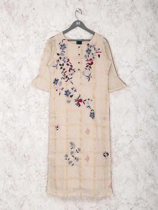 Festive Wear Cotton Silk Beige Hue Kurti