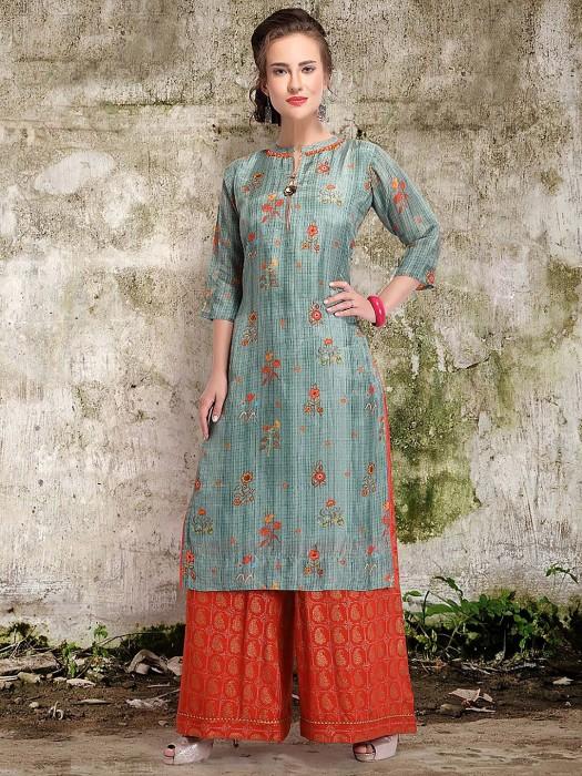 Festive Wear Cotton Silk Blue Color Punjabi Palazzo Suit
