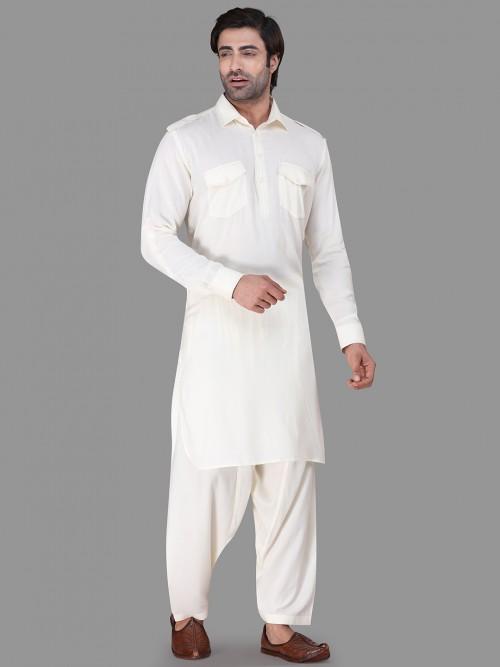 Festive Wear Cream Collar Rayon Pathani Suit