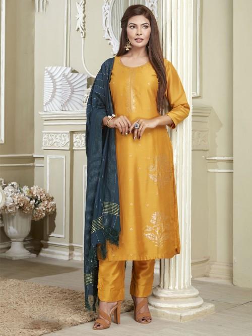 Festive Wear Designer Gold Cotton Punjabi Suit