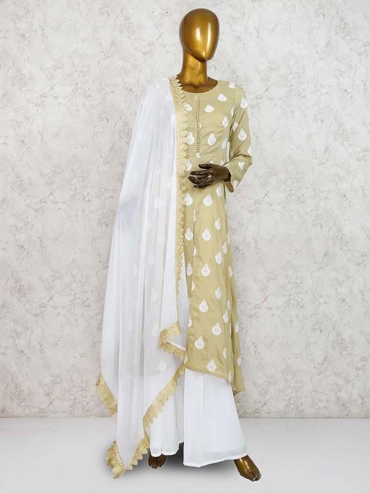 Festive Wear Green Color Cotton Silk Punjabi Palazzo Suit