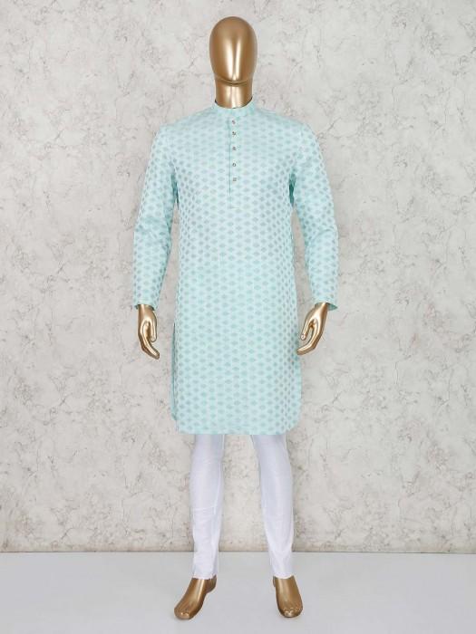 Festive Wear Green Cotton Kurta Suit