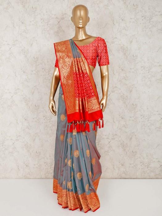 Festive Wear Grey Semi Silk Saree
