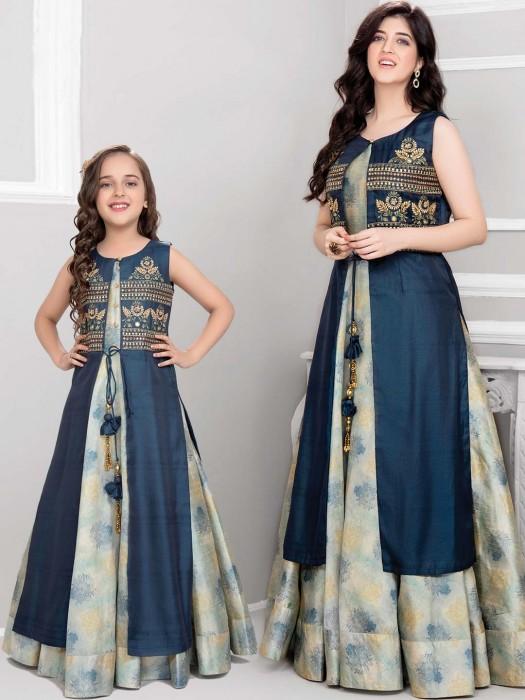 Festive Mother Daughter Blue Anarkali Suit With Jacket