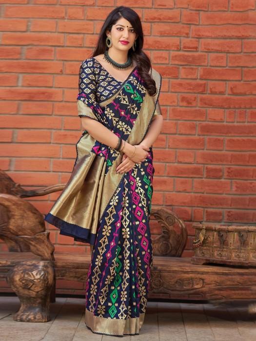 Festive Wear Navy Banarasi Silk Fabric Saree
