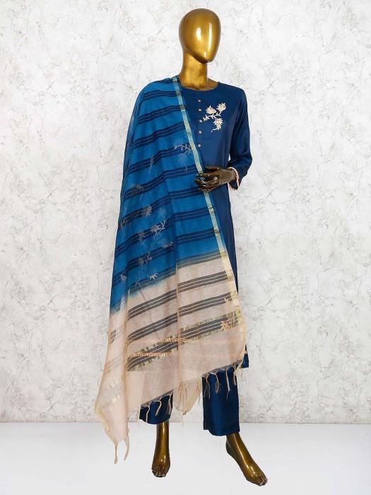 Festive Wear Navy Blue Punjabi Salwar Suit In Cotton Silk