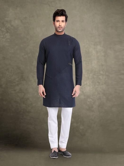 Festive Wear Navy Solid Kurta Suit