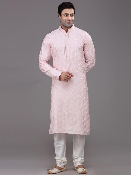 Festive Wear Pink Stand Collar Silk Kurta Suit