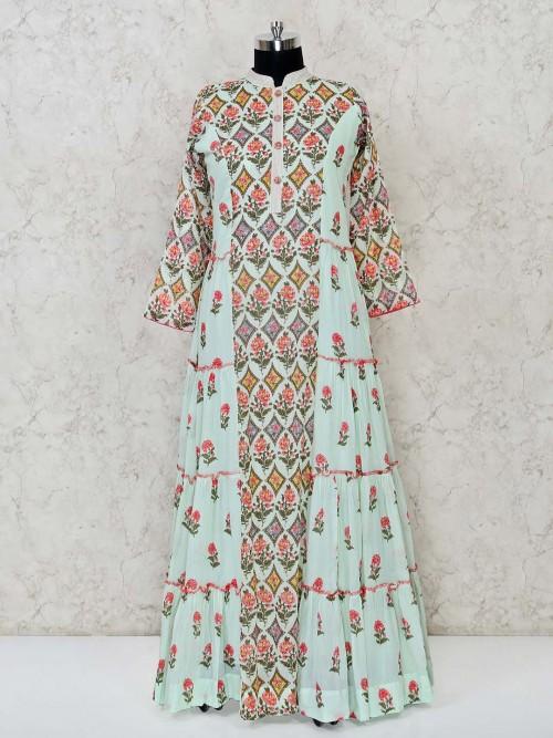 Festive Wear Printed Cotton Mint Green Anarkali