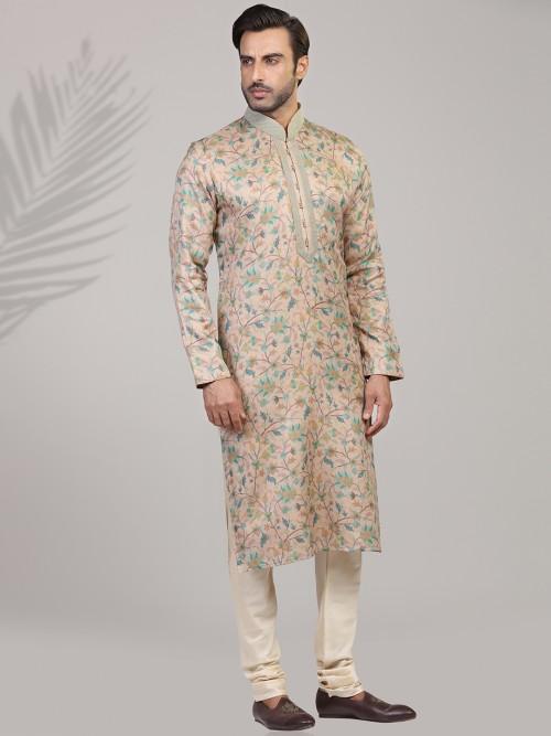 Festive Wear Printed Peach Silk Kurta Suit