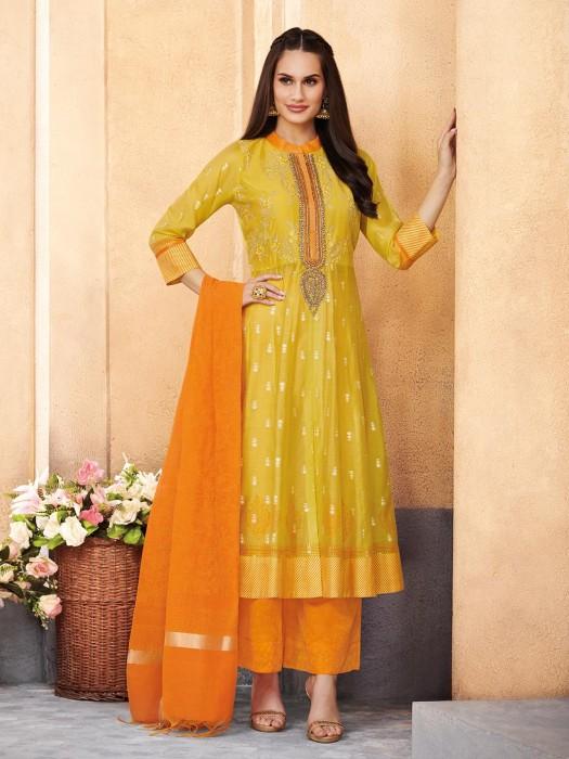 Festive Wear Punjabi Salwar Suit In Yellow