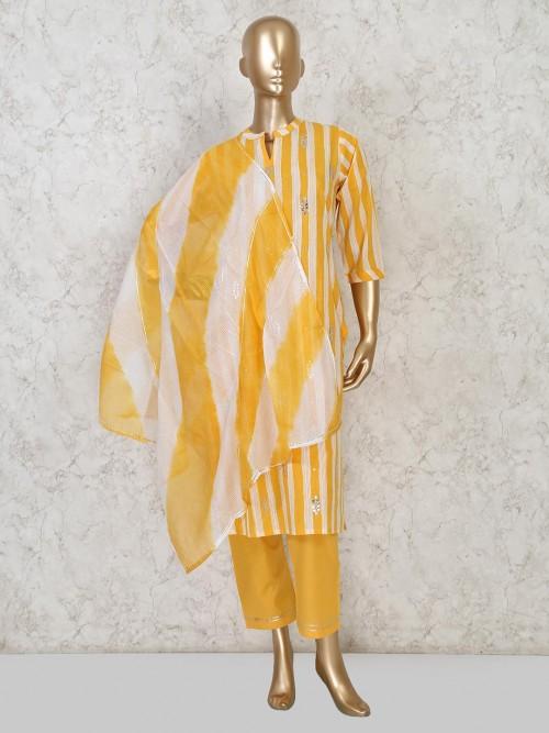 Festive Wear Yellow Cotton Punjabi Pant Suit