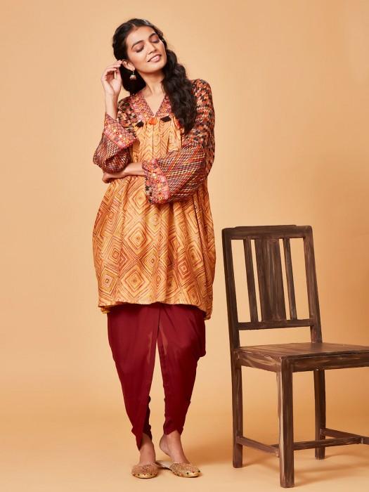 Festive Wear Yellow Hue Cotton Silk Kurti
