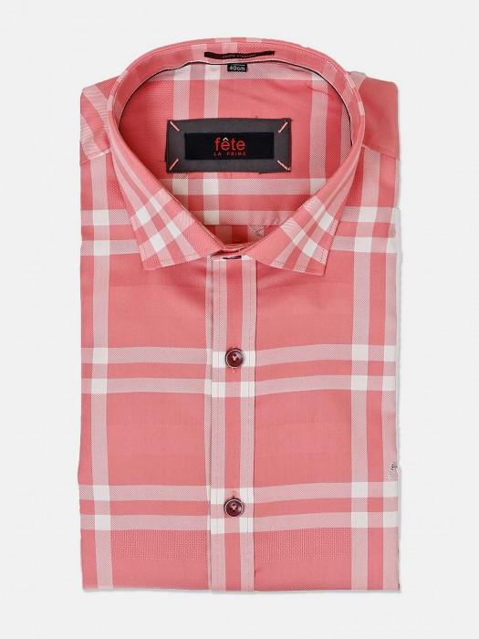 Fete Coral Pink Checks Cotton Shirt