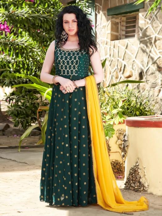 Floor Length Anarkali Green Georgette Salwar Suit