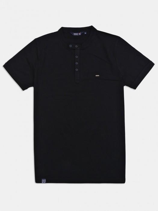 Freeze Black Cotton Solid T-shirt