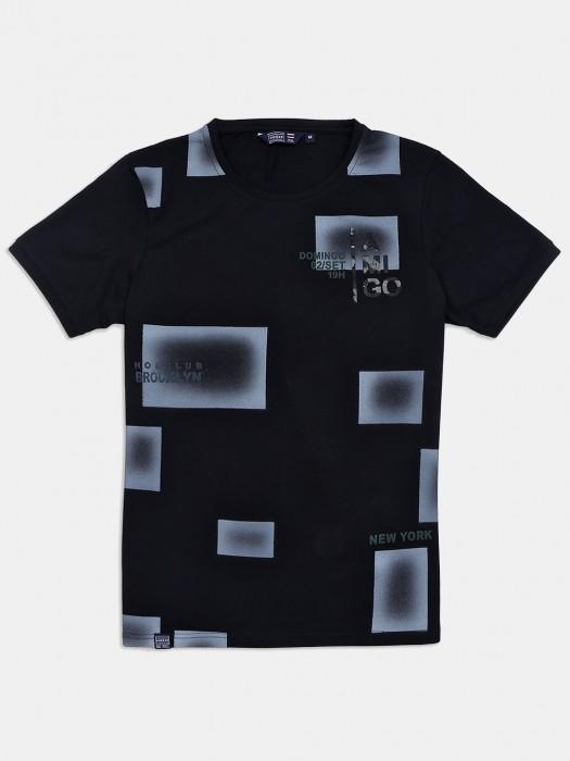 Freeze Black Slim Fit Printed T-shirt
