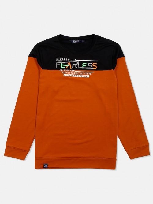 Freeze Rust Orange Printed Mens T-shirt