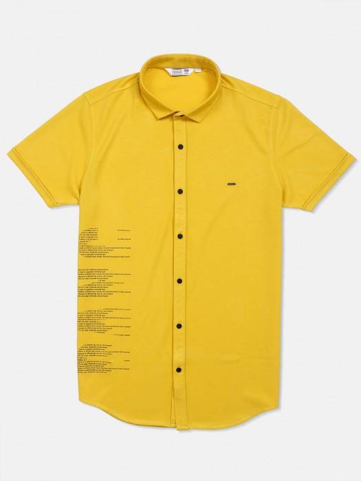 Freeze Yellow Printed Slim Collar Shirt