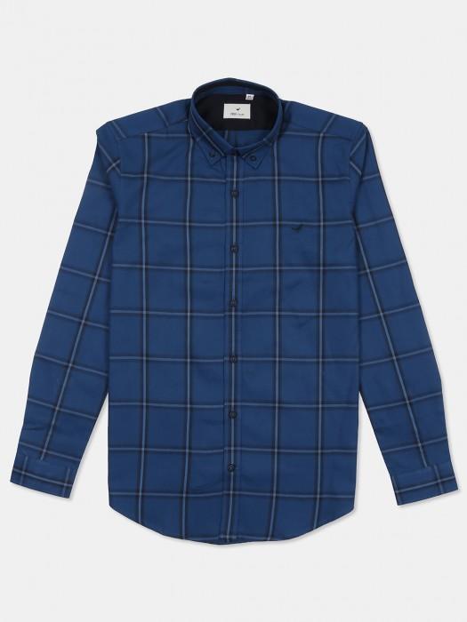 Frio Blue Color Slim Fit Checks Shirt