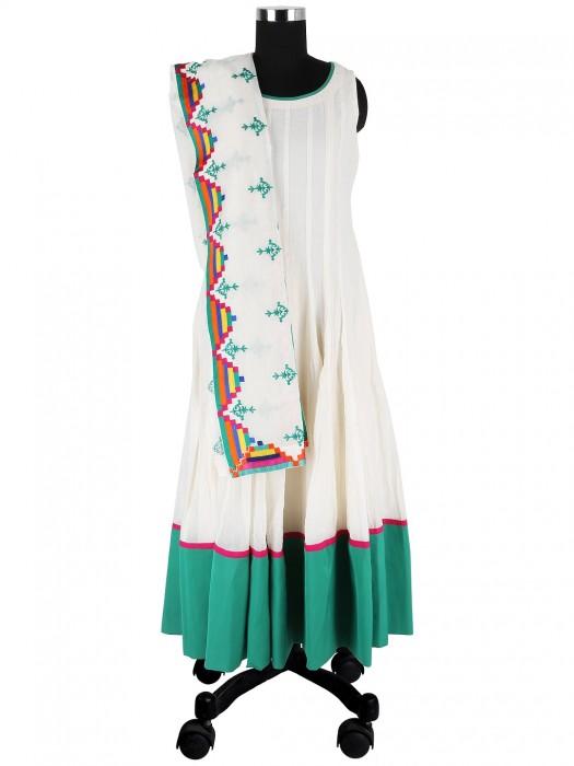 G3 Exclusive White Cotton Silk Designer Readymade Anarkali Suit