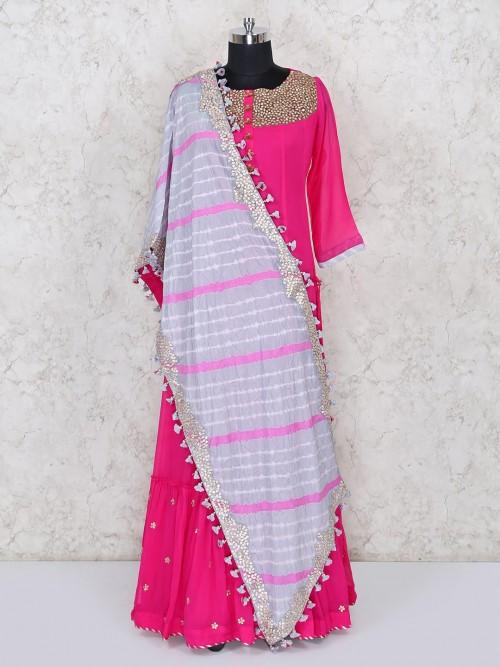Georgette Anarkali Dress In Magenta Color