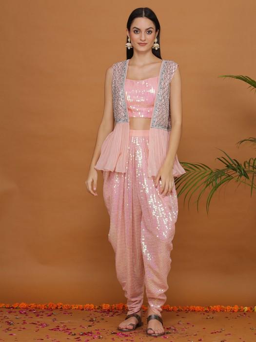 Georgette Baby Pink Designer Dhoti Suit